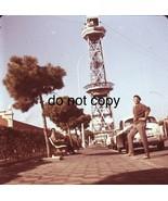 1966 Barcelona Port Tower Cable Car Terminal Street Scene Medium Format ... - $19.79