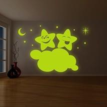 ( 79'' x 52'' ) Glowing Vinyl Wall Decal Twin Stars on Cloud / Glow in the Da... - $229.67