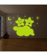 ( 79'' x 52'' ) Glowing Vinyl Wall Decal Twin Stars on Cloud / Glow in t... - $229.67
