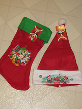 Disney Mickey Minnie Mouse Christmas Childs Stocking & Santa Hat Red Felt - $10.40