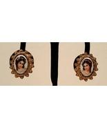 Victorian Gold Limoges Enamel Porcelain Portrait Earrings  - $45.00