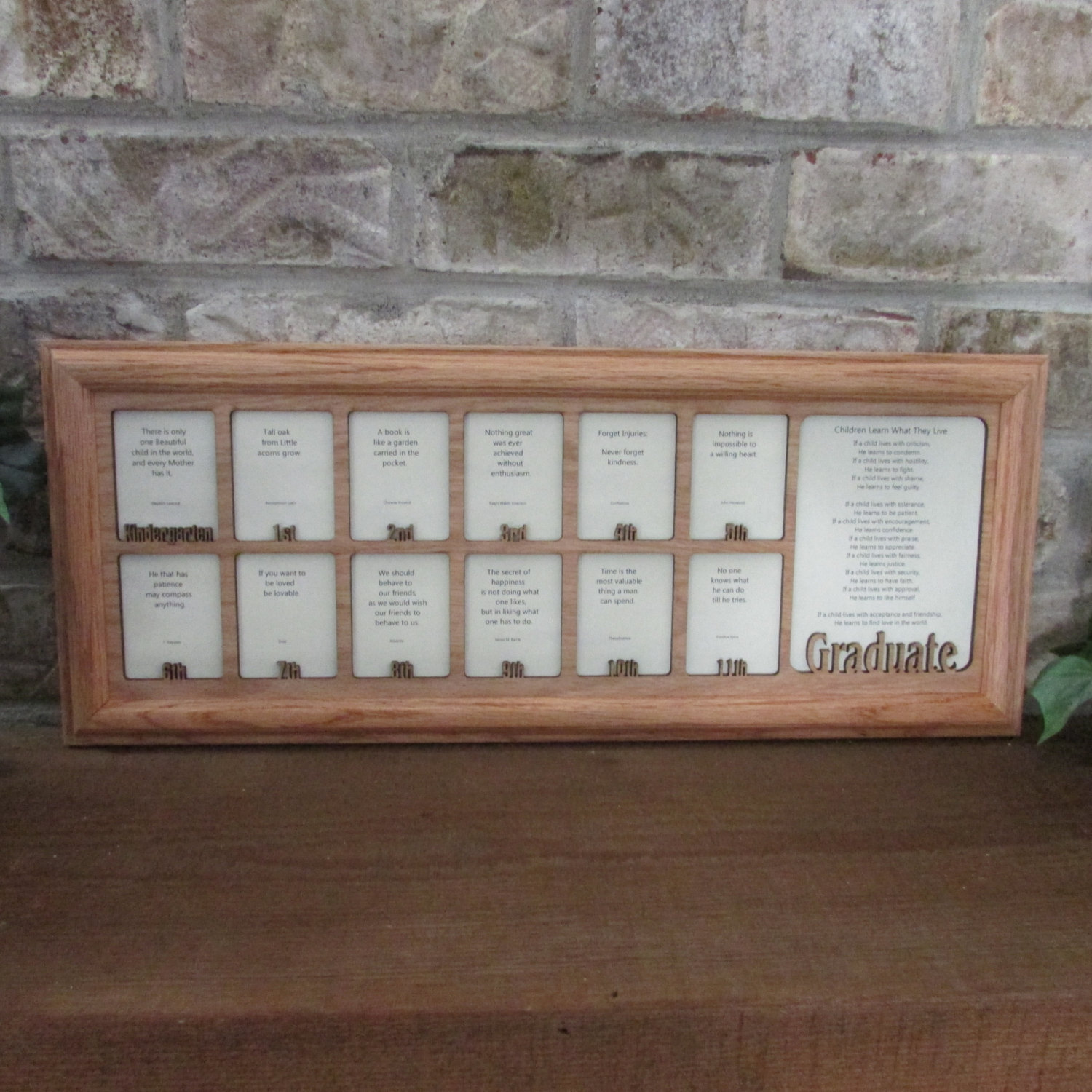 School Years Frame with Name Graduation Collage K12 Picture Frame and Matte 7x20