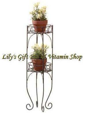 Primary image for Two-Tier PLANT STAND Flower Pot Shelf FLORAL Plants Metal Stand (#28232)