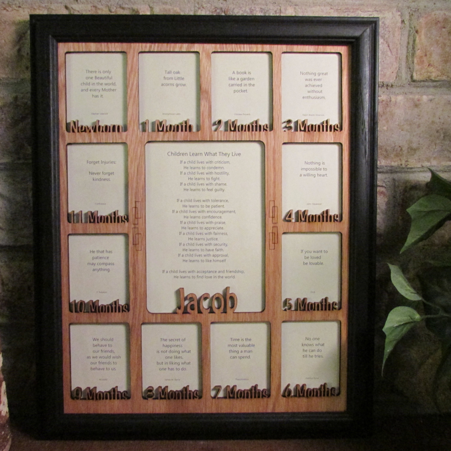 """Baby First Year""Frame with Name Collage Black Picture Frame and Oak Matte 11x14"