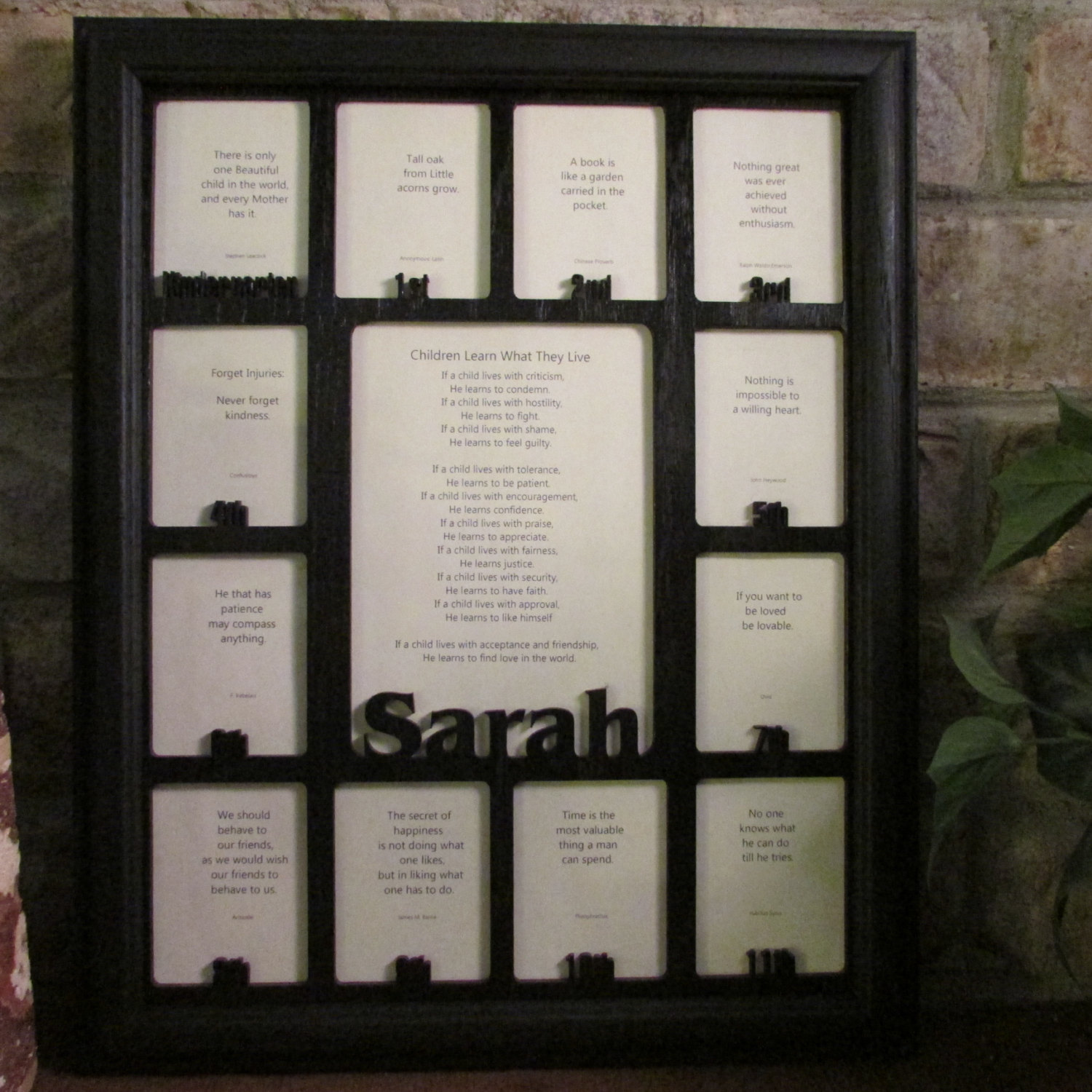 School Years Days Picture Frame with Name Graduation Collage Black Frame Black M