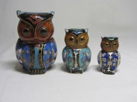 Lot of 3 Cloisonne Enamel Vintage Owl Bird Figurine Statue Turquoise Floral - $33.65