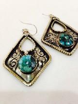Nemesis Silver Bronze Large Repose Tibetian GenuineTurqoise Mosaic Earrings - $42.08