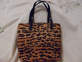 NICE ESTEE LAUDER LEOPARD ANIMAL PRINT SMALL TOTE BAG PURSE CANVAS FAUX ... - $9.89