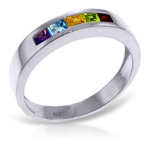 Brand New 0.6 Carat 14K Solid White Gold Rings Natural Multi Gemstones - £234.66 GBP