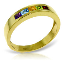 Brand New 0.6 Carat 14K Solid Gold Rings Natural Multi Gemstones - $320.45