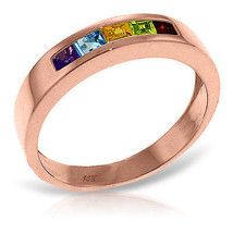 Brand New 14K Solid Rose Gold Rings with  Natural Multi Gemstones - £249.09 GBP