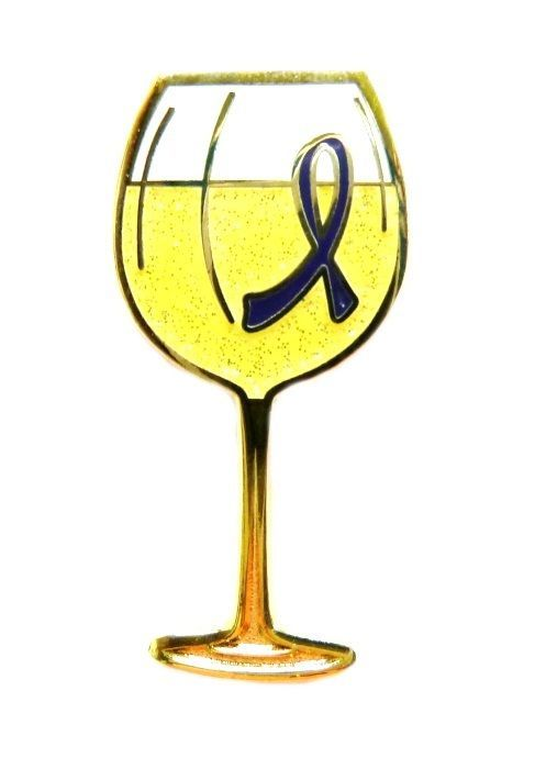 Blue Ribbon Pin White Wine Glass Awareness Alzheimer's Many Cancer Causes New - $13.97