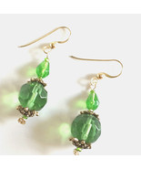 Sparkling Green Earrings, Elegant Gold Dangle Earrings, Green Statement ... - $32.00
