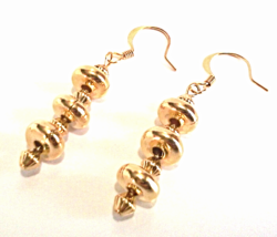 Gold Bead Earrings, Gold Dangle Earrings, Minimal Beaded Earrings, Handmade - $14.00