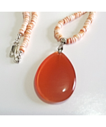 Orange Natural Shell Bead Necklace and Glass Pendant, Red Lip HeIshi Jew... - $51.00