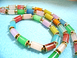 Colorful Bracelet and Necklace Jewelry Set, Multi Color Stone Jewelry, T... - $38.00
