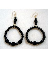 Black Earrings, Black Onyx Hoop Earrings, Stone Bead Jewelry, Handmade E... - $22.00