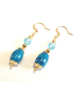 Blue Earrings, Blue Beaded Dangle Earrings, Gold Jewelry, Handmade Bead ... - $14.00