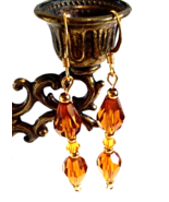 Amber Faceted Glass Teardrop Earrings, Crystal Beaded Jewelry, Handmade ... - $15.00