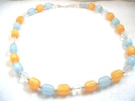 Orange Necklace, Sky Blue Jewelry, Light Pumpkin Orange, Handmade Bead N... - $24.00