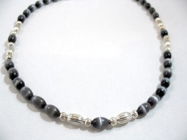 Black Necklace, Smokey Black Mystical Jewelry, Silver Bead Necklace, Unisex - $25.00