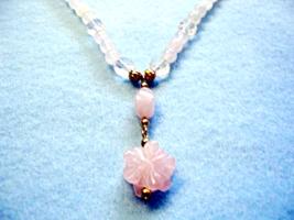 Handmade Rose Quartz Stone Necklace, Pink Carved Flower Pendant, Handmade  - $26.00
