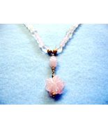 Handmade Rose Quartz Stone Necklace, Pink Carved Flower Pendant, Handmade  - $26.00