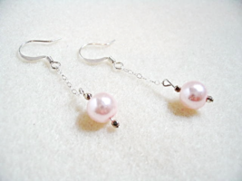 Pink Dangle Earrings, Glass Pearl Beaded Jewelry, Sterling Silver Chain Earrings - $16.00