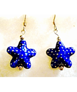 Blue and Gold Cloisonne Starfish Earrings, Starfish Dangle Earrings, Gol... - $19.00