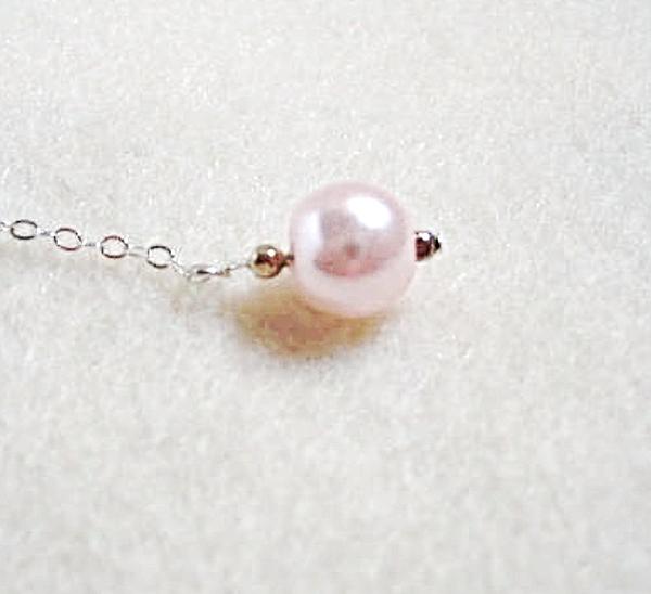 Pink Dangle Earrings, Glass Pearl Beaded Jewelry, Sterling Silver Chain Earrings