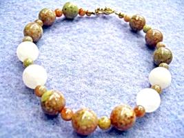 Natural Autumn Jasper Bracelet, Stone Bead Bracelet, Fall Jewelry, Handm... - $20.00