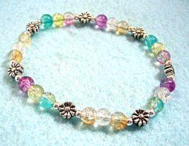 Multi Color Bracelet, Crackle Glass and Silver Flower Stretch Bead Bracelet - $16.00