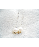 Pearl Earrings, White Glass Pearl Wedding Earrings, Chain Dangle Drop Ea... - $16.00