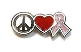 Breast Cancer Awareness Glitter Pink Ribbon Heart Peace Cure Lapel Pin New - $13.83