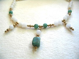 Green Necklace, African Jade Pendant and White Jasper Stone Beaded Necklace - $25.00
