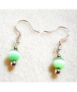Green Bead Earrings, Petite Dangle Earrings, Glowing Mystical Green Earr... - $13.00