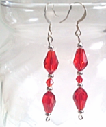 Red Dangle Earrings, Faceted Glass Teardrop Earrings withRed Crystal Beads - $15.00