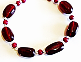 Black Cherry Red Bracelet, Dark Red Bead Jewelry, Bold Chuncky Beaded Br... - $27.00