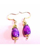 Purple Plum Dangle Earrings, Glass Bead Earrings, Handmade Beaded Jewelr... - $14.00