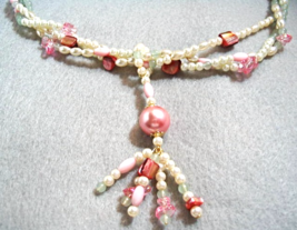 Pearl Jewelry Set, Beach Jewelry, Sea Foam Green Stone, Pink Mother of P... - $59.00