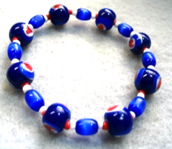 Blue Beads with Red Hearts Bracelet, Handmade Bead Bracelet, Small Size ... - $21.00