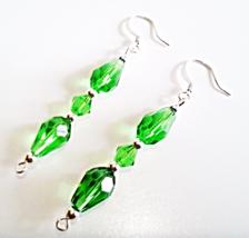 Handmade Green Earrings, Faceted Glass Teardrops, Emerald Green Crystal ... - $15.00