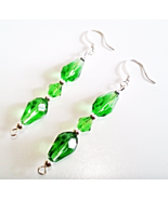 Handmade Green Earrings, Faceted Glass Teardrops, Emerald Green Crystal ... - $15.00
