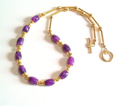 Purple Glass Bead Necklace, Gold Jewelry, Retro Inspired Purple Necklace - $27.00
