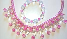 Pink Necklace and  Bracelet Jewelry Set, Handmade Glas - $44.00