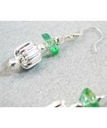 Green Earrings, Green and Silver Dangle Earrings, Handmade Glass Bead Ea... - $10.00