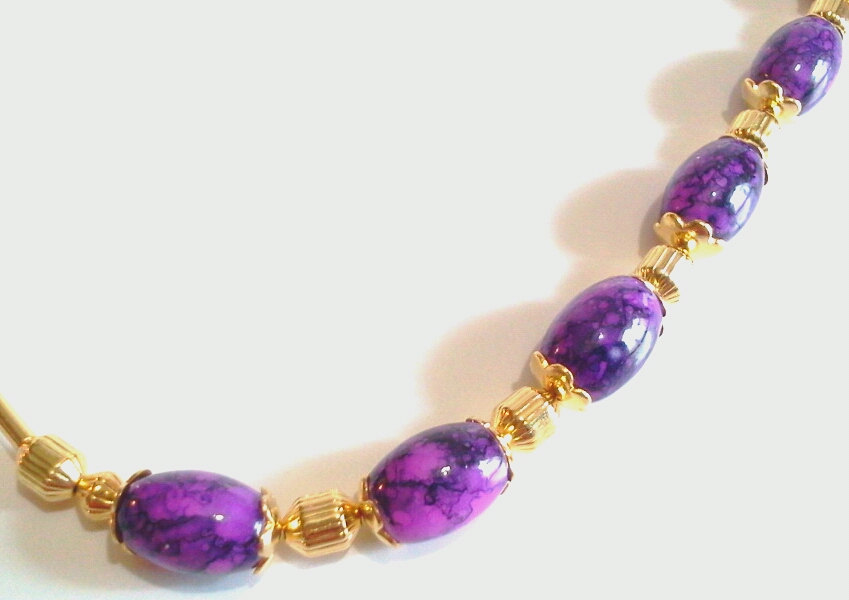 Purple Glass Bead Necklace, Gold Jewelry, Retro Inspired Purple Necklace