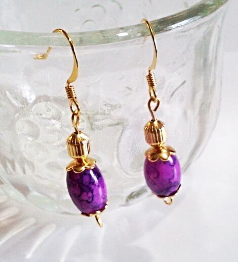 Purple Plum Dangle Earrings, Glass Bead Earrings, Handmade Beaded Jewelry, Gold