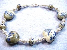 Hearts Bracelet, Blue Heart Bracelet, Valentines Day Gift, Chunky Bead B... - $20.00