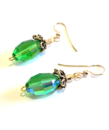 Green Earrings, Faceted Crystal Jewelry, Emerald Green Dangle Earrings - $19.00